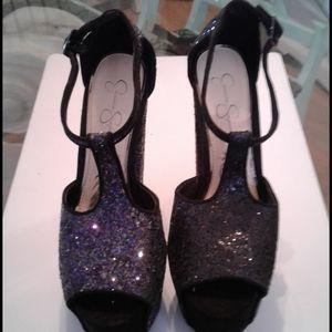 Vintage black sparkle Jessica Simpson Heels